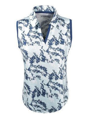 Etonic Golf- Ladies Printed Split Placket Sleeveless Polo