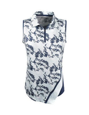 Etonic Golf- Ladies 1/2 Zip Asymmetric Sleeveless Printed Polo
