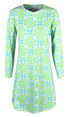 IBKUL Golf- Ladies Moroccan Tile Long Sleeve Crew Neck Dress