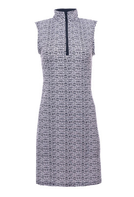 IBKUL Golf- Ladies Geo Sleeveless Mock Dress