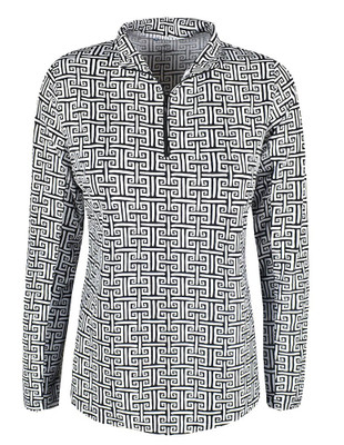 IBKUL Golf- Ladies Geo Key Long Sleeve Mock