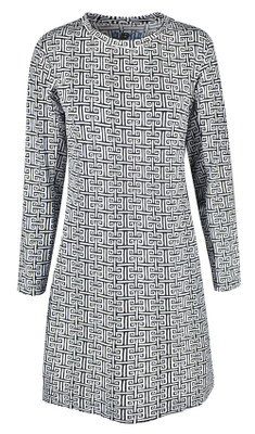 IBKUL Golf- Ladies Geo Long Sleeve Crew Neck Dress