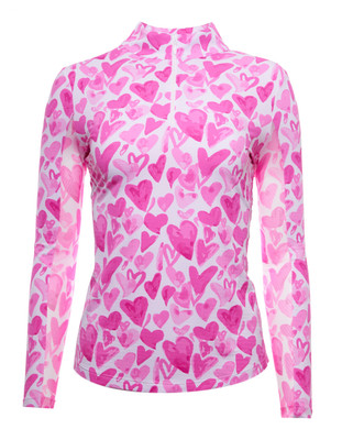 IBKUL Golf- Ladies Full of Hearts Long Sleeve Mock