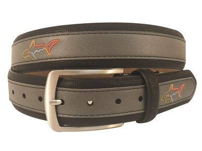 Greg Norman Golf- Embroidered Logo Leather Belt