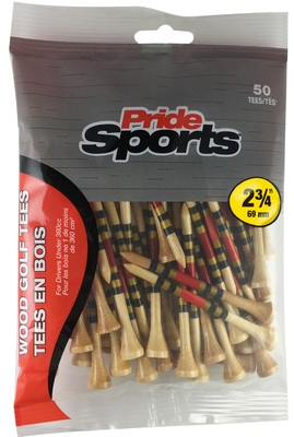 "PrideSports Golf- 2 3/4"" Striped Wood Tees (50 Pack)"