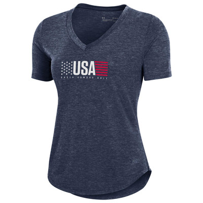 Under Armour Golf Ladies Breezy USA T-Shirt (Red, White & Blue Collection)