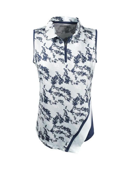 Etonic Golf- Ladies 1/2 Zip Asymmetric Sleeveless Printed Polo