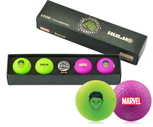 Volvik- Marvel Edition Golf Balls with Hat Clip Ball Marker
