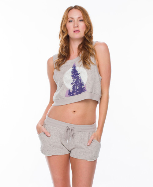 Through the Pines Heather Terry Crop and Short Set