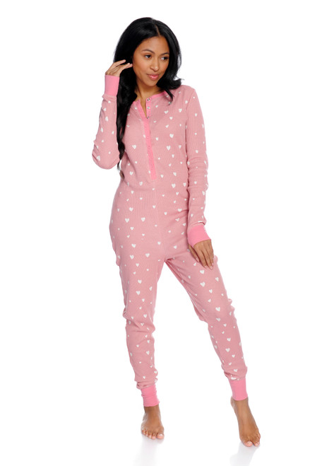 Teeny Hearts Thermal Onesie Front View