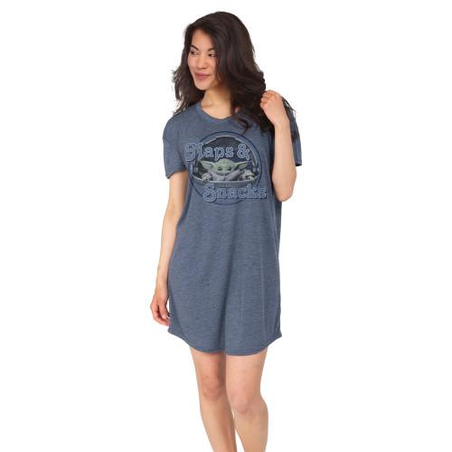 Baby Yoda Navy Scoop Neck Nightshirt