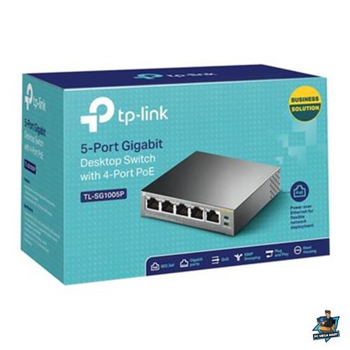 TL-SG1005P - TP-LINK 5 PORT UNMANAGED DESKTOP SWITCH GbE (5), POE (4)BLACK, 5YR WTY -