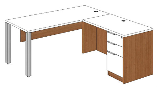 Rectangular Peninsula L-Shape Desk Right Return