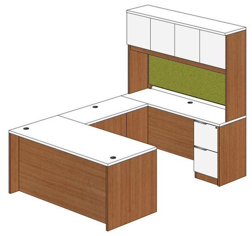 Straight Front U-Shape Desk with Hutch Right Bridge