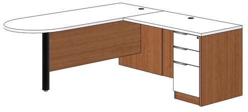 Bullet Peninsula L-Shaped Desk with Right Return