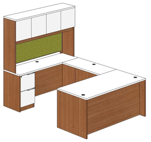 Straight Front U-Shape Desk with Hutch Left Bridge