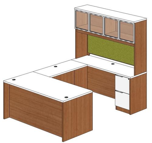 Straight Front U-Shape Desk with Aluminum Framed Door Hutch Right Bridge