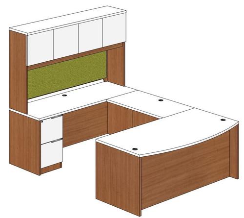 Bow Front U-Shape Desk with Laminate Door Hutch and Left Bridge