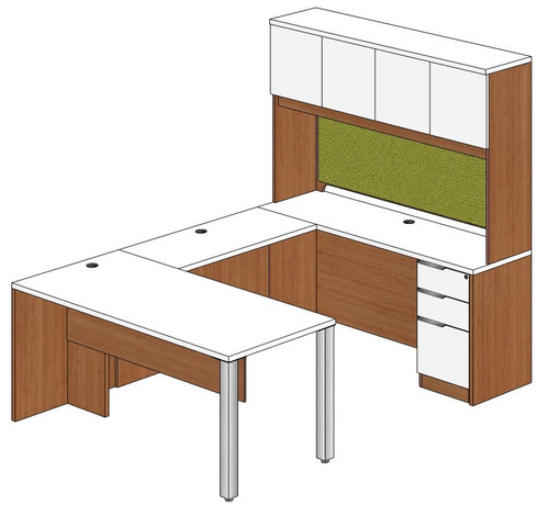 Rectangular Peninsula U-Shape Desk with Hutch and Right Bridge