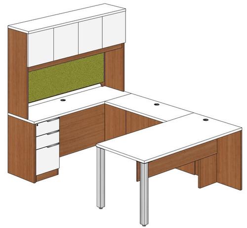 Rectangular Peninsula U-Shape Desk with Hutch and Left Bridge