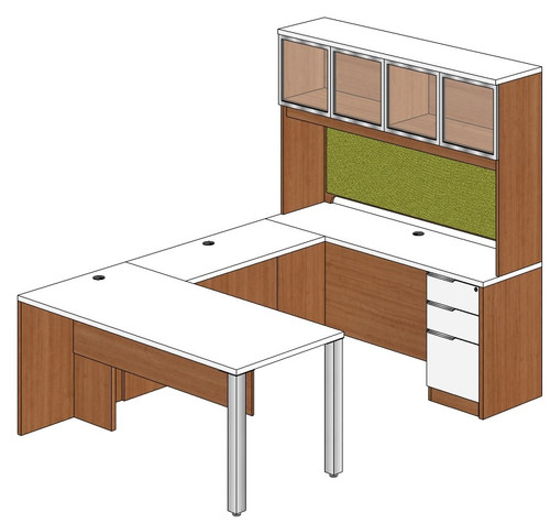 Rectangular Peninsula U-Shape Desk with Aluminum Frame Door Hutch and Right Bridge
