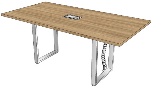 One-piece Rectangular Conference Table with Surfside Metal Legs