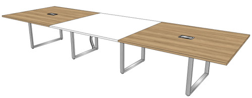 Three-piece Rectangular Conference Table with Surfside Metal Legs