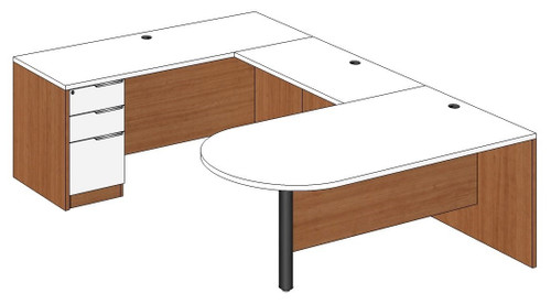 Bullet Peninsula U-Shape Desk Left Bridge
