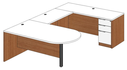 Bullet Peninsula U-Shape Desk Right Bridge
