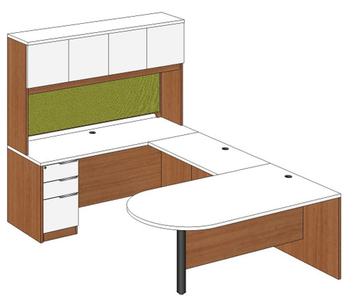 Bullet Peninsula U-Shape Desk with Laminate Door Hutch and Left Bridge