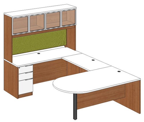 Bullet Peninsula U-Shape Desk with Aluminum Frame Door Hutch and Left Bridge