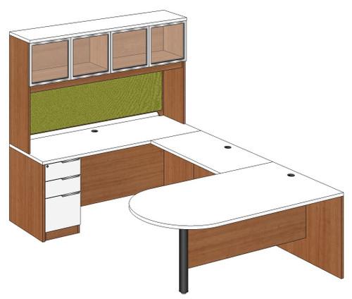 Bullet Peninsula U-Shape Desk with Aluminum Frame Door Hutch and Left Bridge