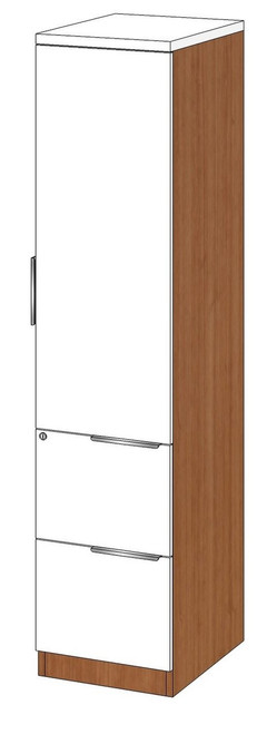 Personal Storage Cabinet with File-File Pedestal, Right Handed
