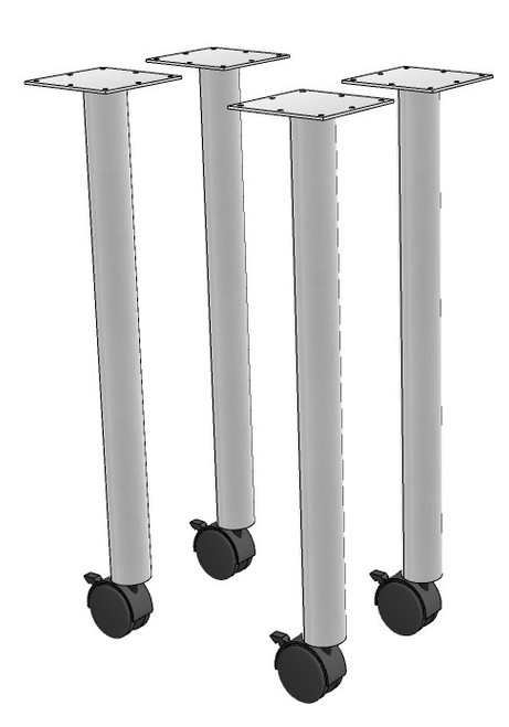 Round Post Leg with Caster (Set of 4)