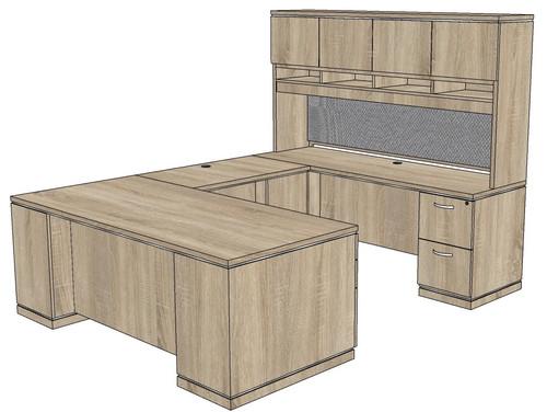 Milano Straight Front U-Shape Desk with Laminate Hutch - Right Bridge