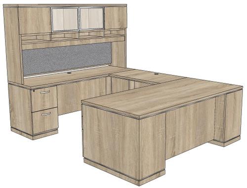 Milano Straight Front U-Shape Desk with Laminate and Glass Hutch - Left Bridge