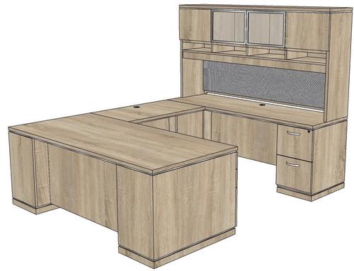 Milano Straight Front U-Shape Desk with Laminate and Glass Hutch - Right Bridge