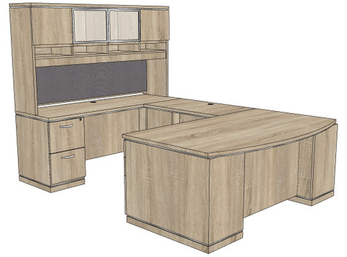 Milano Straight Bow U-Shape Desk with Laminate and Glass Hutch - Left Bridge