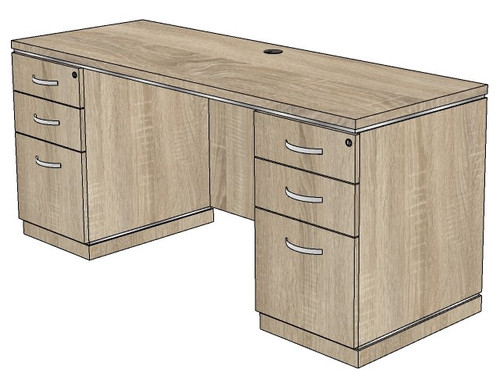 Milano Kneehole Credenza with Box/Box/File Peds
