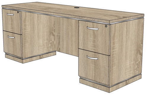 Milano Kneehole Credenza with File/File Peds