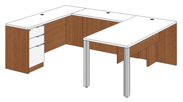 Rectangular Peninsula U-Shape Desk Left Bridge