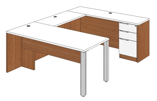 Rectangular Peninsula U-Shape Desk Right Bridge