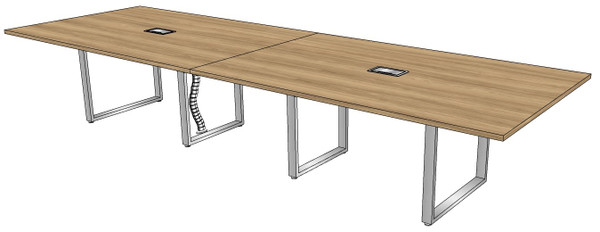 Two-piece Rectangular Conference Table with Surfside Metal Legs