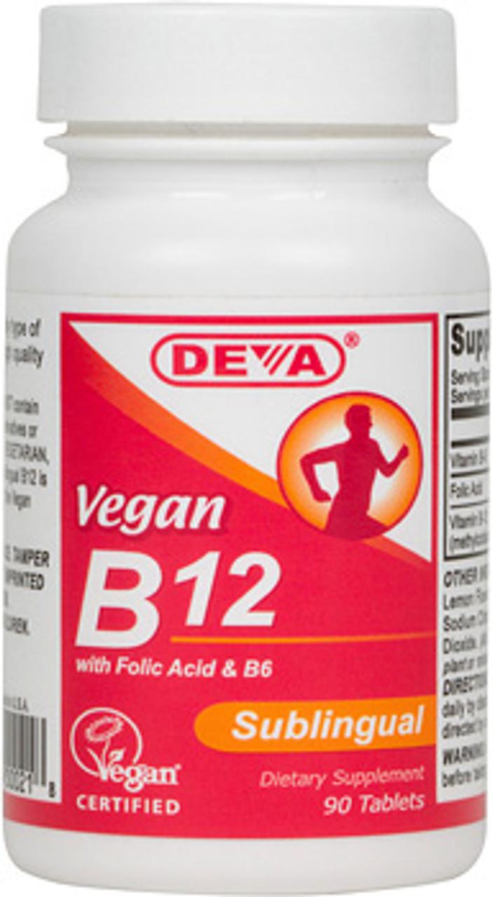 Vegan Vitamin B-12 Subligual 90ct Deva Vegan Vitamins