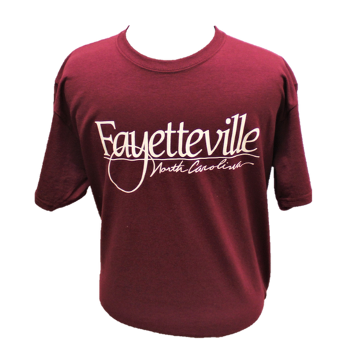 """Fayetteville North Carolina"" t-shirt, maroon with white letters."