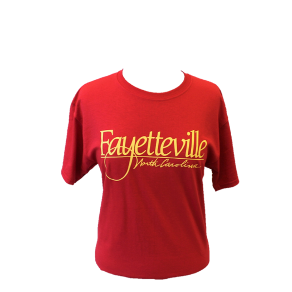 """""""Fayetteville North Carolina"""" t-shirt, red with gold letters."""
