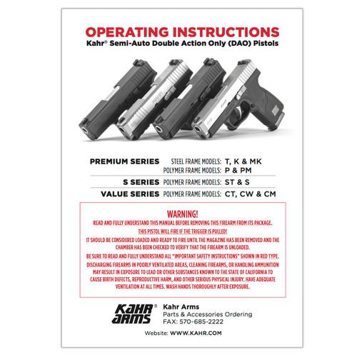 Kahr Pistols Operating Manual MANUAL