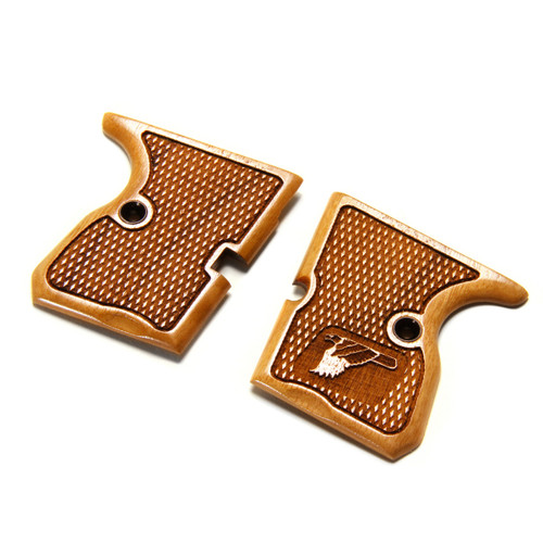 Micro Eagle Checkered Wood Grips
