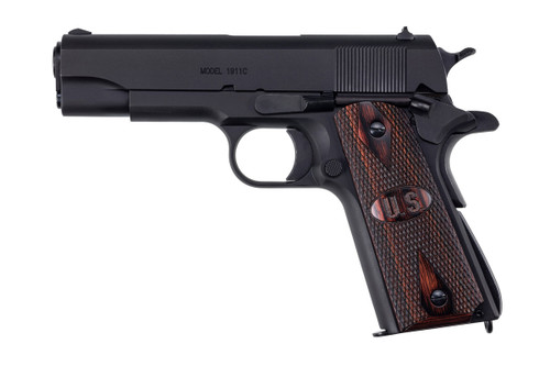 1911A1, GI Specs., Matte Black Finish, Commander Model w/ Wood Grips, 45Cal
