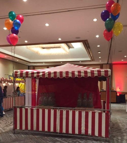 10' x 10' Red and White Strip Tent Rental